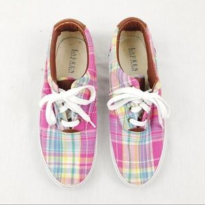 LRL Pink Plaid Sneakers Size 10